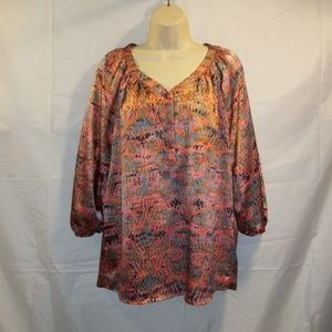 The Limited Top Blouse 3/4 Sleeve Geometric Size L
